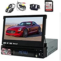 Wireless Free Backup Camera EinCar In-Dash 1 DIN 7 inch radio Touch screen Car DVD/CD/USB/SD/MP4/MP3 Player GPS Navigation Bluetooth iPod Detachable Front Panel Wireless Remote+Free Map Card