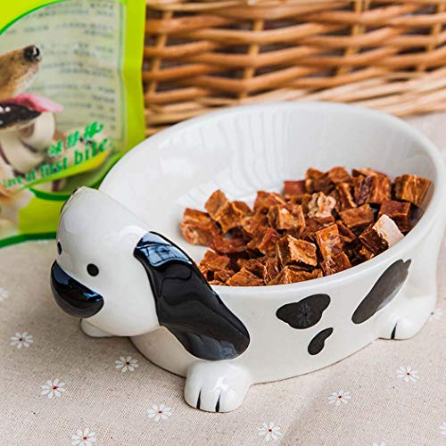 Pet Feeder, Creative 3D Dog-Shaped Colored Ceramic Dog Food Bowl, add Cutlery for Small and Medium Anti-tip Pets, Painted pet Bowl,20CM13.5CM9CM