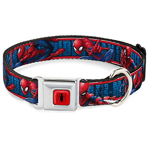 Dog Collar Seatbelt Buckle Spider Man 3 Action Poses Bricks Stripe Blues Red White 15 to 26 Inches 1.0 Inch Wide