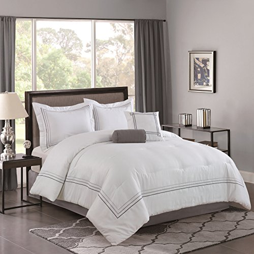Bellagio Home Comforter Set, King, White, Gray
