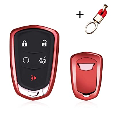 MAXMILO Soft TPU Case Cover Protector Case for Cadillac Key Fob, Car Remote Key Fob Case for Cadillac ATS-L CT6 XTS XT5 CTS SRX Escalade Fob Remote Key+Keychain (red): Automotive