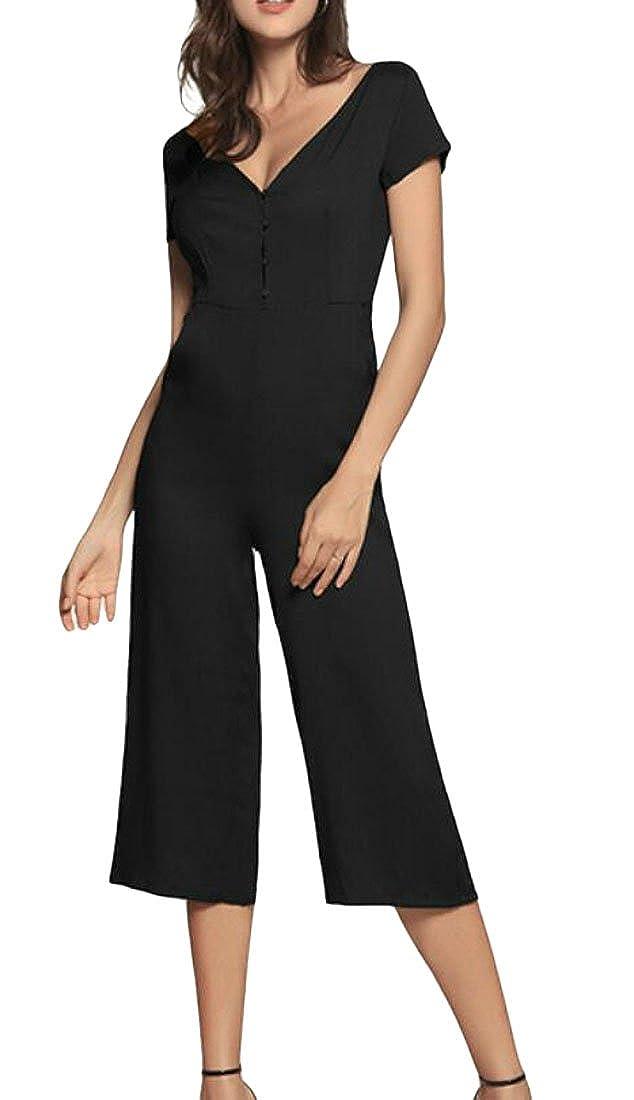 Rrive Women Short Sleeve Buttons Wide Leg Palazzo Pants Jumpsuits Romper