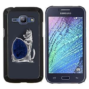 EJOOY---Cubierta de la caja de protección para la piel dura ** Samsung Galaxy J1 J100 ** --Malvada divertida del lobo