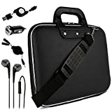 Black Sidney Travel Bag w/ Micro USB Cable & Charger, 2-in-1 3.5mm Headpone Jack Adaper & More For Microsoft Surface Book Surface Pro 4 Surface 10