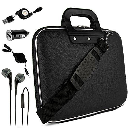 Black Otto Travel Bag w/ Micro USB Cable & Charger, 2-in-1 3.5mm Headpone Jack Adaper & More For HP Pavillion X2 10 Plus Slate ProPad ElitePad