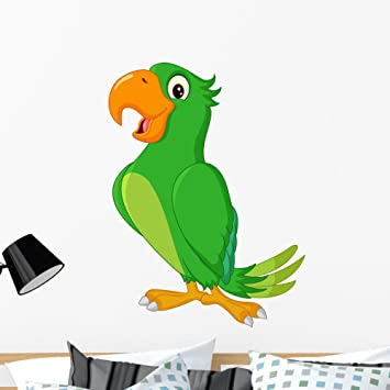 Amazon Com Wallmonkeys Cartoon Cute Parrot Wall Decal Peel And Stick Graphic 36 In H X 27 In W Wm362905 Furniture Decor