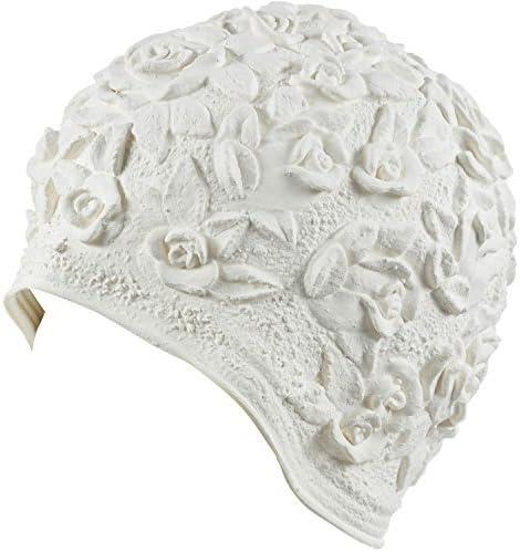 Disponibile in 6/Colori HoldEm in Lattice con Motivo Floreale Goffrato Ornamento Swim Cuffia da Bagno