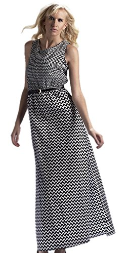 Women's Black and White Cheveron Pattern Maxi Dress-Medium