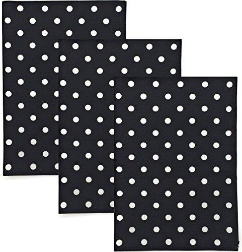 (Dunroven House Polka Dot 100% Cotton Kitchen Towels, Set of 3 (Black))