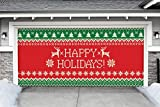 Outdoor Christmas Holiday Garage Door Banner Cover Mural Décoration - Ugly Christmas Sweater Happy Holidays - Outdoor Christmas Holiday Garage Door Banner Décor Sign 7'x16'