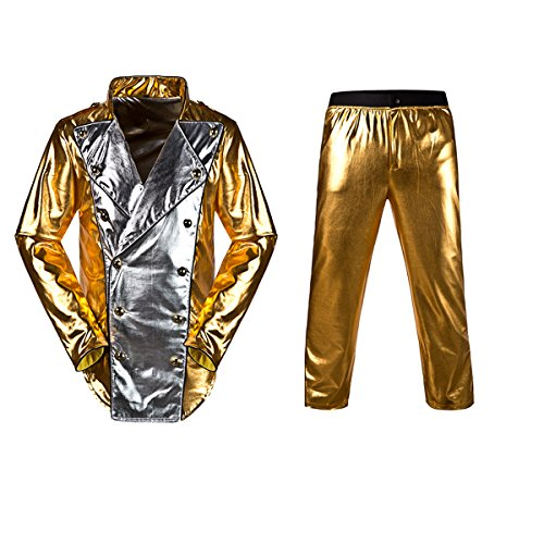 [Michael Jackson World Tour Gold History Jacket with Pant Mj Costume (Kids 130-145cm, GOLDEN)] (Michael Jackson Billie Jean Costumes For Kids)
