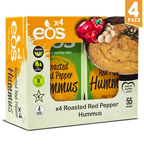 - EOS {Roasted Red Pepper Hummus} All-Natural Chickpeas Tahini Dip Clean Healthy Snack Bean Dip for Pita Chips Plant Based Protein High Fibre Good Fat Low Calorie Vegan Non-GMO | 4 Pack
