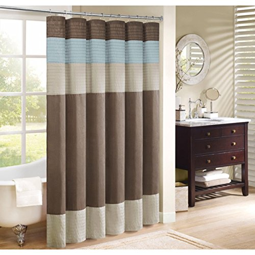 1 Piece Brown Blue Horizontal Stripe Printed Shower Curtain, Polyester Abstract Graphical Geometric Pattern, Beautiful Detailed Colorful Textures Printed, Modern Elegant Design, Rich Bright Color