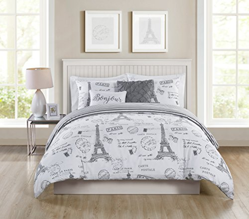 VCNY Home PAR-5DV-QUEN-IN-TA Duvet Cover Set, King, Taupe (Duvet Covers Paris)