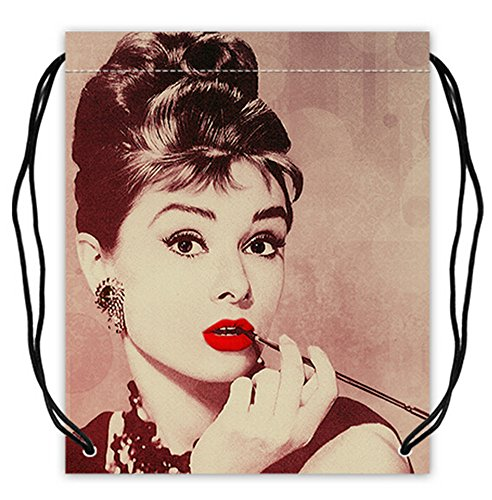 Polyester Fabric Basketball Drawstring Bags Drawstring Tote Audrey Hepburn Print