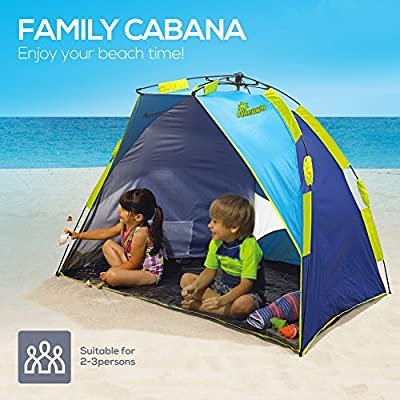 Beach Tent, Nacuwa Pop Up Lightweight Sun Shelter, 2-Person Portable UPF 50+ Water Resistant Beach Shade with Carry Bag (Blue/Green)