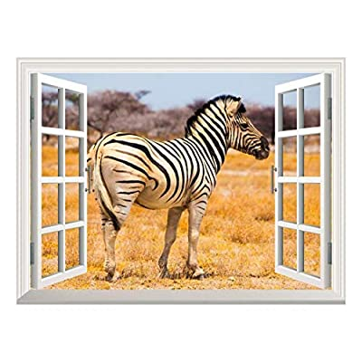 Removable Wall Sticker Wall Mural A Zebra on The African Savannah with Acacia Trees Creative Window View Wall Decor, Crafted to Perfection, Elegant Technique