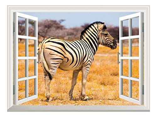 (Removable Wall Sticker/Wall Mural - A Zebra on The African Savannah with Acacia Trees | Creative Window View Wall Decor - 36