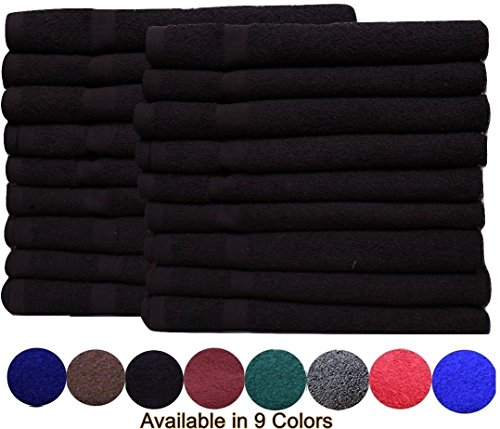 Cotton Salon Towels (24-Pack, Black,16x27 inches) - Soft Absorbent Quick Dry Gym-Salon-Spa...