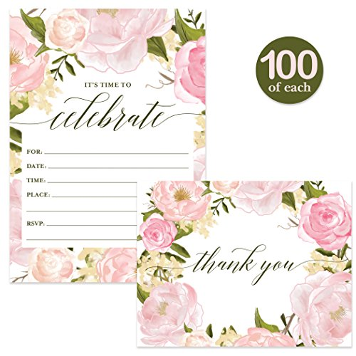 All Occasion Invites ( 100 ) & Thank You Cards ( 100 ) Matched Set with Envelopes Any Large Event Graduation Birthday Shower Fill-in-Style Guest Invitation & Folded Thank You Notes Great Value Pair by Digibuddha (Image #6)