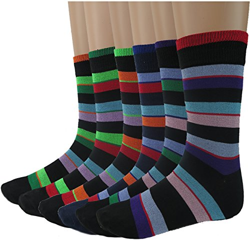 (Debra Weitzner mens Dress Socks With Colorful Stripes Patterns- Cotton - Crew length - Pack of 6 Pairs)