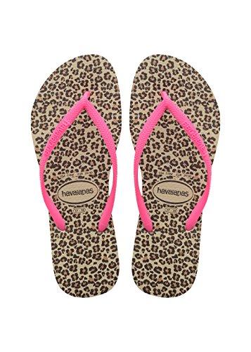 Havaianas Women's Slim Animals Flip Flop Sandal,Sand Grey/Pink, 41/42 BR(11-12 M US Women's / 9-10 M US ()