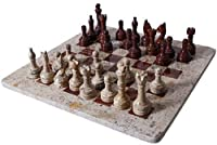 RADICALn 16 Inches Handmade Dark and Light Brown Original Marble Two Players Full Chess Game Set