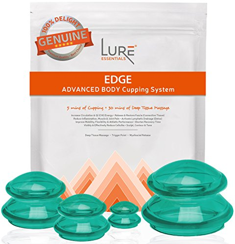 - EDGE Cupping Therapy Sets - Silicone Vacuum Suction Cupping Cups - Muscle, Nerve, Joint Pain Relief (Emerald Green, 4)