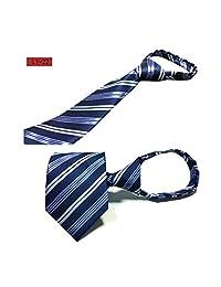 Fcclss Formal Pencil Striped Men's Neckties Zipper Ties Neckwear Mult Blue