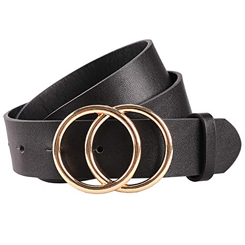 Black Circle Ring - Earnda Women's Leather Belt Fashion Soft Faux Leather Waist Belts For Jeans Dress 1 1/4