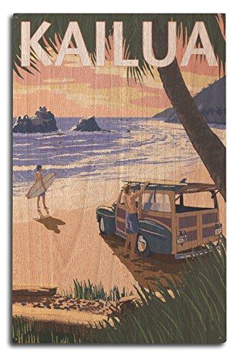 (Lantern Press Kailua, Hawaii - Woody on Beach (10x15 Wood Wall Sign, Wall Decor Ready to Hang))