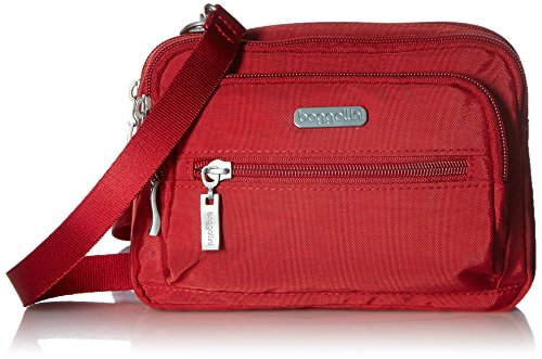 Baggallini Triple Zip Bag –Removable, Adjustable Strap can Switch from Crossbody Bag to Wallet Purse orWaist Pack apfelgrün