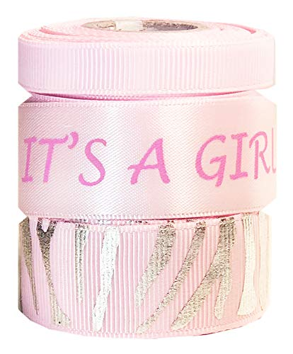 HipGirl Pink Ribbon for Crafts 15 Yards It's a Girl 3/8