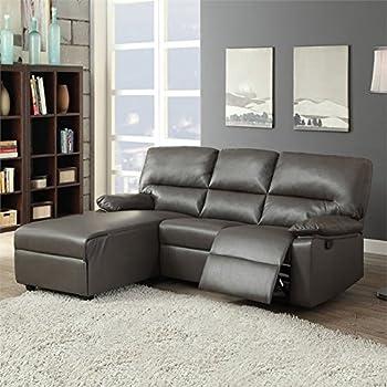 Amazoncom acme furniture artha 51560 motion sectional for Gray sectional sofa amazon