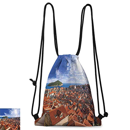 School backpack European Cityscape Decor Collection Sunset of Dubrovnik City with the Island Mediterranean Culture Old Town Print Deco W14