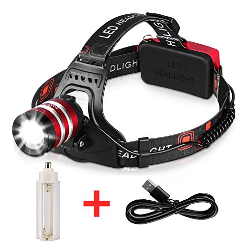 1800LM Rechargeable Headlamp CREE LED, Zoomable Headlamp Flashlight, T6 Head Lights LED for Camping, Silver (18650/3 AAA Batteries Powered)