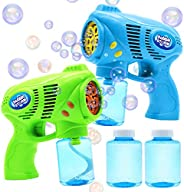 JOYIN 2 Bubble Guns with 2 Bottles Bubble Refill Solution (10 oz Total) for Kids, Bubble Blower for Bubble Bla