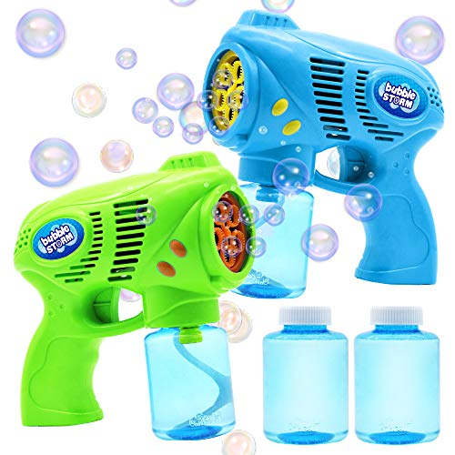 Tiki Bubble Machine (JOYIN 2 Bubble Guns with 2 Bottles Bubble Refill Solution (10 oz Total) for Kids, Bubble Blower for Bubble Blaster Party Favors, Summer Toy, Outdoors Activity, Birthday)