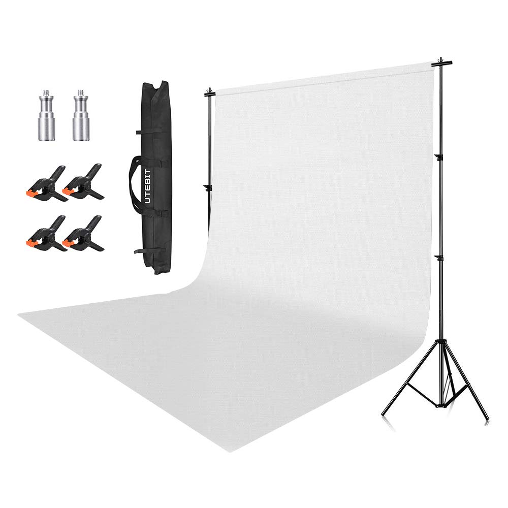 UTEBIT Photo Backdrop Stand Kit 6.5 x 9 Ft Collapsible Background Support Stands Portable with 1.8 x 2.8M White Polyester Backdrops and 4 Pack Spring Clamps 4'' for Photography Studio, Video Shooting