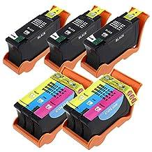 YDINK 5 Pack (3 Black & 2 Color) Compatible Hi-Yield Ink Cartridge for Dell Series 21 22 23 24 P513w P713w V313 V715w v515w