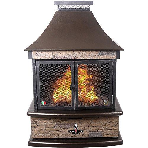 Lava Heat Italia Lorenzo Liquid Propane Gas Outdoor Fireplace, Heritage Bronze with Faux (Faux Stone Patio)