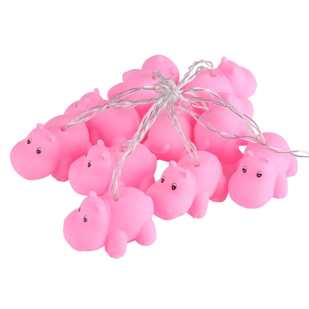String Lights - 1.8M Cartoon 10 LED Decorative String Light, Kids' Room Christmas Party Festival Decor (Style : #Hippo)