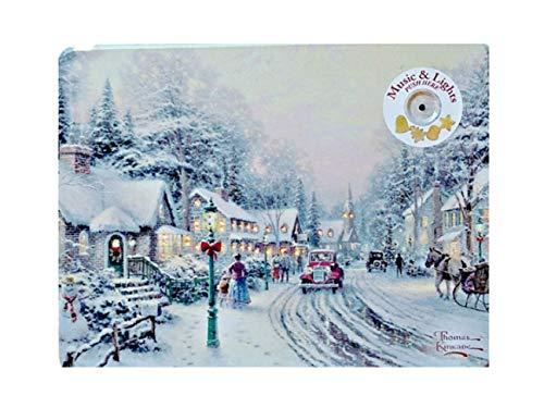 Thomas Kinkade Holiday Light Up and Musical Sugar Cookie Village Christmas Tin Painter of Light Gift Set