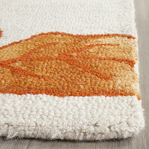 Safavieh Dip Dye Collection DDY683A Handmade Modern Floral Watercolor Ivory and Orange Wool Area Rug (2' x 3')