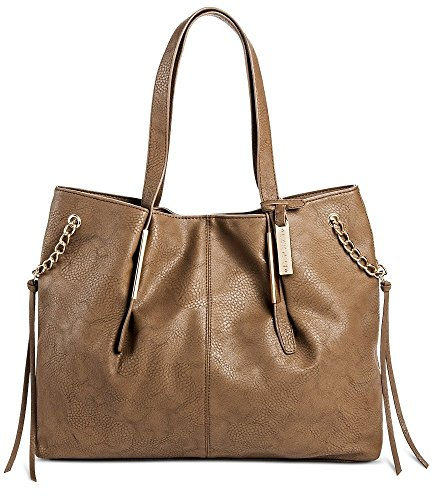 Cesca Womens Oversized Tote With Chain Detailing  Taupe
