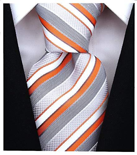 Striped Ties for Men - Woven Necktie - Orange