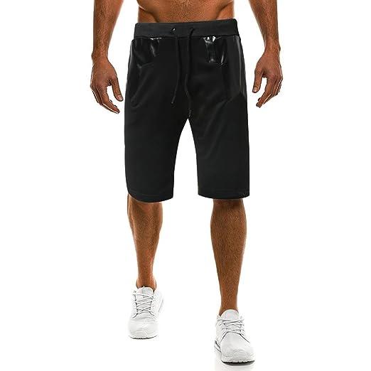 f2ccf4864519d4 RAISINGTOP Fashion Men Capri Joggers Shorts Knee Length Summer Casual Sport  Drawstring Pants Elastic Waist Lounge