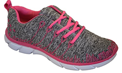 Shop Pretty Girl Womens Sneakers Athletic Knit Mesh Running Light Weight Go Easy Walking Casual Comfort Running Shoes 2.0 (10, Pink/Grey with Memory Foam Insole)