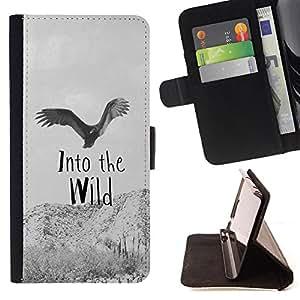 King Case - FOR Apple Iphone 6 - Into the wild - Prima caja de la PU billetera de cuero con ranuras para tarjetas, efectivo Compartimiento desmontable y correa para la mu?eca