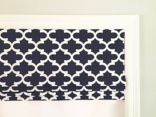 Faux (Fake) Roman Shade Valance With Lining. Fynn Blue And White (Dark Navy).
